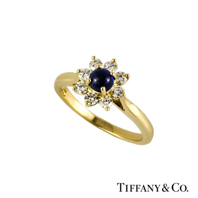 Tiffany & Co 18k Yellow Gold Diamond and Sapphire Ring